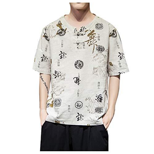 VWsiouev Herren Baumwolle Leinen Chinesisch Knoten Retro Print Shirt Loose Fit Halbarm Casual T-Shirt Strand Yoga Tops -