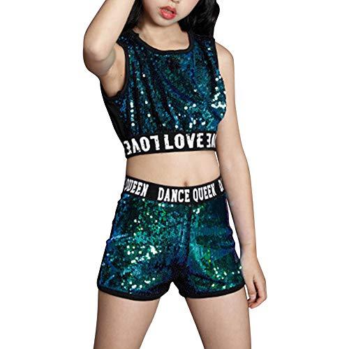 Gtagain Paillette Ballsaal Kostüme Jacken - Mädchen Erwachsene Tanzen Jazz Hip Hop Modern Bühne Anzüge Shorts Sets Tanzbekleidung