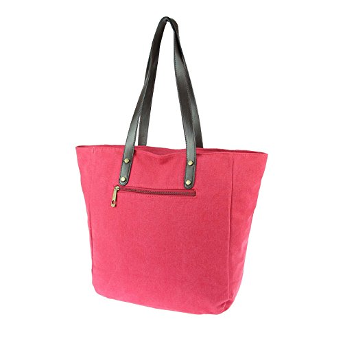 OBC ital-design Stern Tasche Handtasche Damentasche Canvas Baumwolle Schultertasche Beutel Sportliche Tasche Umhängetasche Henkeltasche Shopper DIN-A4 Grün Rot