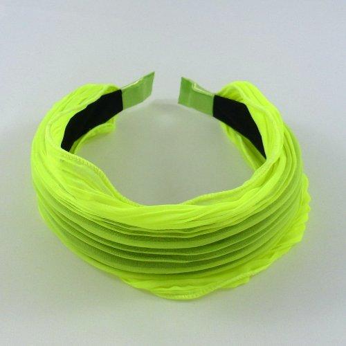 rougecaramel - Serre tête/headband/ large plissé façon bandeau - jaune fluo