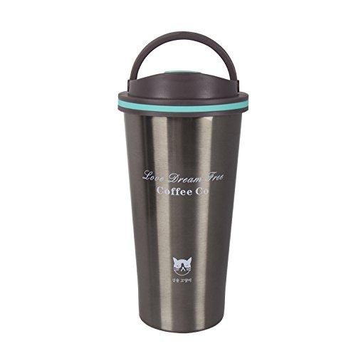 Hivexagon Edelstahl Kaffeebecher mit Schraubdeckel, Isolierbecher 500ml Coffee to go Autobecher Trinkbecher für unterwegs, Reisebecher BPA Frei, Leicht & Auslaufsicher AC009BK