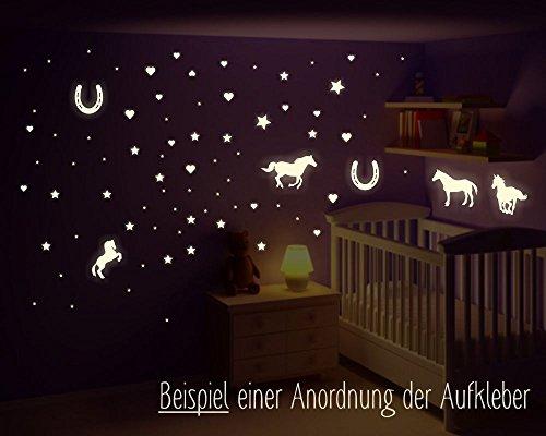 Leuchten Pferd (Wandtattoo Pferde, leuchtende Pferde, leuchtende Hufeisen, leuchtende Sterne, starke Leuchtkraft, Wandsticker, Leuchtaufkleber, leuchten im dunklen, fluoreszierend, 2 x A4 Bögen (145 Aufkleber))