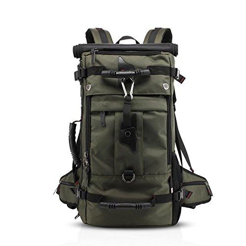 """Wandern Rucksack 40L Reiserucksack Langlebig Wasserdicht für Outdoor Sport, 3 in 1 als Rucksack, Umhängetasche und Handtasche, Sporttasche für Laptop 17\"""" Multi Taschen mit Schuhfach (Armee-Grün)"""
