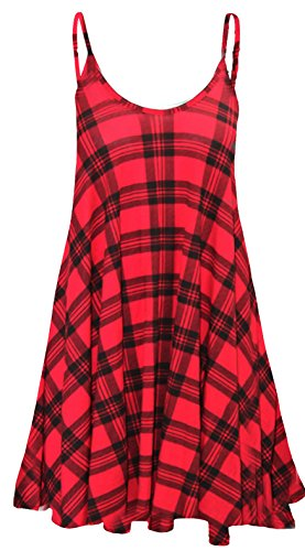 F4U ® Damen bedruckt Cami Kleid Top Damen Sommer Swing Mini Kleid Lang Top Plus Cami Swing Kleid Flared Cami Kleid 8–26 Rot Tartan Muster