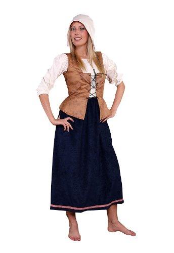 gd Kostüm für Damen Gr. XL Bäuerin mittelalterliche Frau ()