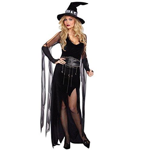Hexen Spar Kostüm für Damen,ZEZKT 2017 Schwarzes Kleid mit Kapuze Halloween Fasching Karneval Hexe Vampir Lady Mortischa Mittelalter Zauberin (Halloween Kostüme 2017)