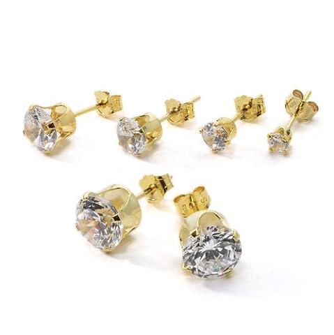 Argent sterling CZ Boucles d'oreilles pour les femmes avec une Platting or Premium