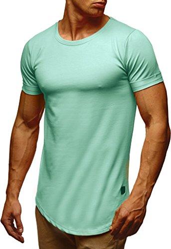 LEIF NELSON Herren Sommer T-Shirt Rundhals-Ausschnitt Slim Fit Baumwolle-Anteil | Moderner Männer T-Shirt Crew Neck Hoodie-Sweatshirt Kurzarm lang | LN6368 Mint Large -