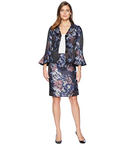 Tahari by ASL Womens Floral Jacquard Portrait Collared Skirt Suit