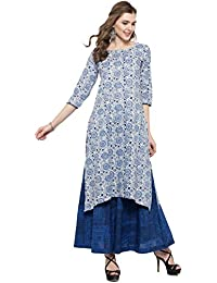 Sera Women's Ethnic Wear Floral Print Kurta With Blue Palazzo Round Neck/ Three-Quarter Sleeves Knee Length Kurta