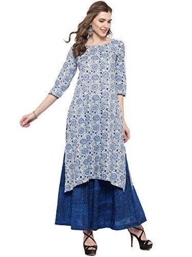 Sera Women's Ethnic Wear Floral Print Kurta With Blue Palazzo Round Neck/ Three-Quarter Sleeves Knee Length Kurta