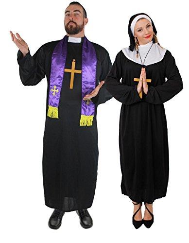 PRIESTER & NONNEN PAARE ORIGENAL KOSTÜM- FANCY DRESS -FÜR KARNEVAL UND VERKLEIDUNGEN - MÄNNER -SCHWARZE PFARRER ROBE UND EIN LILA SCHAL + DAMEN NONNEN TUNIKA MIT WEISSEN KRAGEN UND EINEM ()