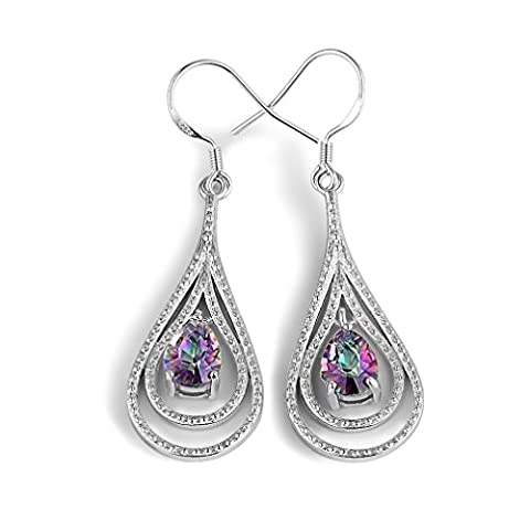 925 Sterling Silver Earrings, Rainbow Topaz Drop Teardrops Hook Earring DE0005M