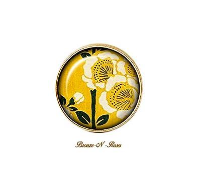 Bague Fleurs cabochon bronze jaune citron asie japon
