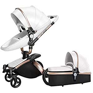 HZC 2 in 1 Baby Stroller Newborn Bassinet Travel System Baby Carriage for Toddler Girls and Boys (Color : White)   11