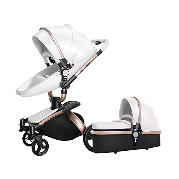 HZC 2 in 1 Baby Stroller Newborn Bassinet Travel System Baby Carriage for Toddler Girls and Boys (Color : White) HZC Suitable for baby strollers from birth to 25 kg, made of high-quality aluminum alloy, each baby stroller is pressure tested to provide safety for every baby. Multi-position Reversible Seat: Carrycot for newborn to 6 months can simply convert to seat for toddlers. Easily switch from the carrycot to toddler seat once your baby is 6 months old or can sit unaided,making it an ideal stroller for both infant and toddler. Reversible seat design allows baby to face you or face the world 1