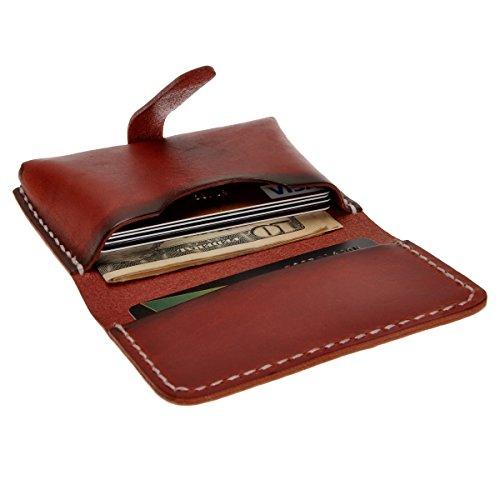 ZLYC Handgefertigter Geldbeutel & Kleingeldstasche aus Echtleder - Unisex Schlanke Kreditkartenetui Geldbörse Portemonnaie DunkelRot