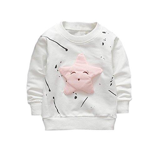 ❤️Kobay Junge Mädchen Baby Outfits Kleidung InfantStar Gedruckte Baumwolle Lange Ärmel T-Shirt (90 / 18Monat, Blanc)