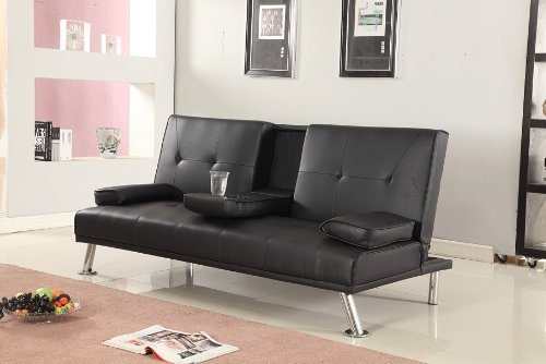 Cinema Style Futon Sofabed With Drinks Table Sofa Bed Faux Leather in Black
