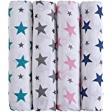 haus & kinder Twinkle Collection Cotton Soft Muslin Swaddle Wrap for Newborn Baby - Pack of 4 (100 x 100 cm, Navy, Grey, Turquoise, Pink)