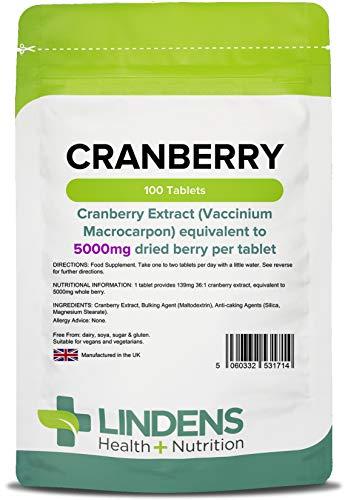 Lindens Compresse di succo di mirtillo rosso da 5000 mg | 100 Confezione | Pratico modo di introdurre il mirtillo rosso nella vostra giornata, ricco di polifenoli e antiossidanti, diffuso tra le donne
