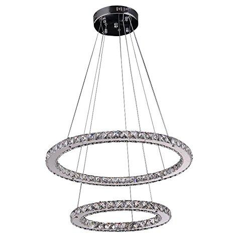 Lonfenner Lampadario di moderno creativo LED anello luminoso cerchio cristallo cromo Lampade di cristallo luce di soffitto di cristallo il ristorante living room (anello di 50cm di anello esterno 30cm) , Cool white Light