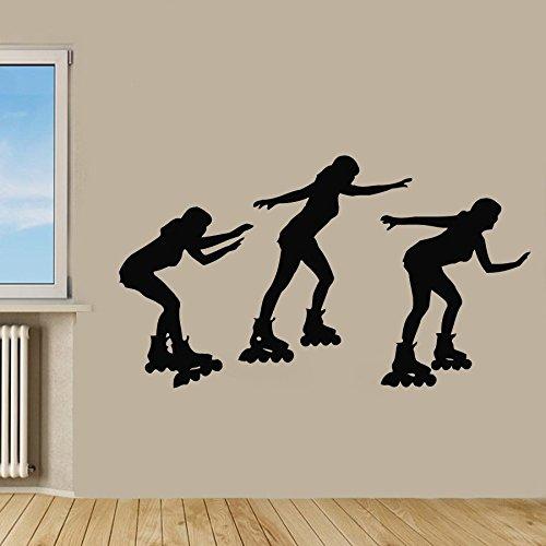 Roller Skate Wand Aufkleber Frau Skaten Drei Sport Mädchen Vinyl Aufkleber Aufkleber Gym Home Decor Vinyl Kunst Wandbild Kinderzimmer Decor (Skate Kunst Roller)