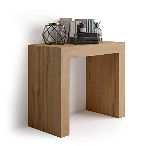 Mobilifiver Tavolo Consolle Allungabile Angelica, Rovere Rustico, 45 x 90 x 76 cm, Nobilitato/Alluminio, Made in Italy