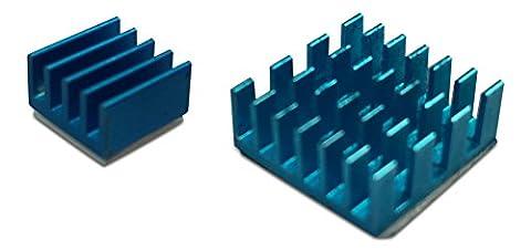 gorillapi dissipateur thermique pour Raspberry Pi 2modèle B/PI 3. Lot de 2(x2) en aluminium avec Pre Adhésif appliqué dissipateur thermique offrant un avantage de refroidissement