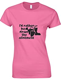 I'd Rather Be Down The Allotment, Ladies Printed T-Shirt