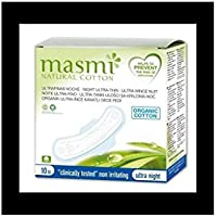 Masmi Natural Cotton, Absorbente bio ultra noche, pack de 10