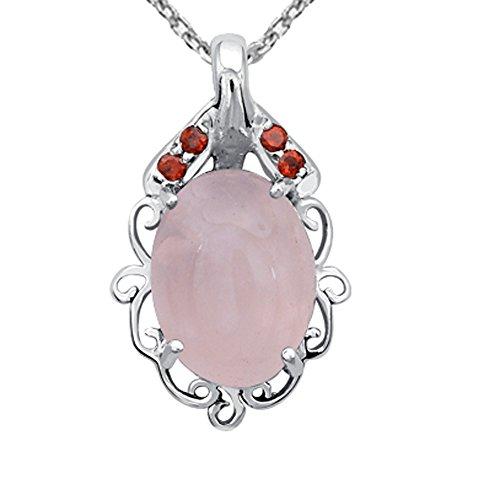 Orchid Jewelry - Collar de Plata de Ley 925, Cuarzo Rosa de 12 1/5 Quilates y Granate