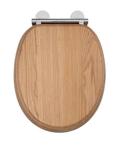 Croydex Flexi-Fix Rutland Immer passt nie gleitet langsam schließender WC-Sitz, Eiche, 44,5x 36,5x 6cm (Langsam, Wc-sitz)