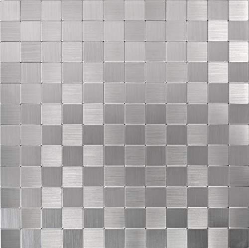 Aluminium Mosaik (Mosaik Fliese selbstklebend Aluminium silber metall metall für WAND KÜCHE FLIESENSPIEGEL THEKENVERKLEIDUNG Mosaikmatte Mosaikplatte)