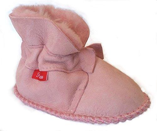 Plateau Tibet - Chaussons Chaussures bébé en cuir souple avec doublure en VERITABLE laine d'agneau bottines garçon fille enfant - HuggB - Rose