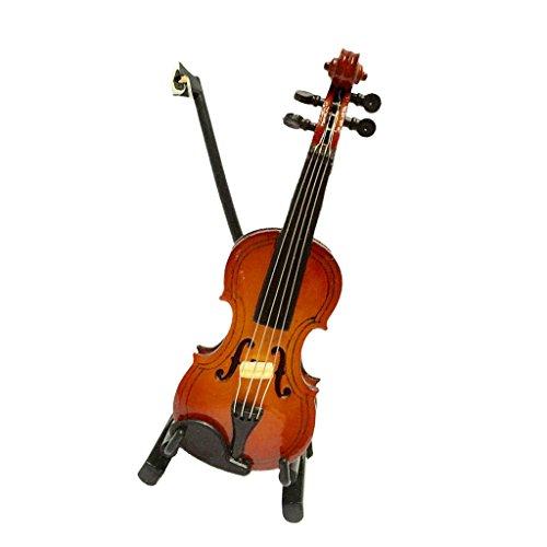 NON MagiDeal Juguete Miniaturas Violín de Madera Instrumento de Música con Caja y Soporte de Dollhouse - 14cm