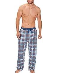 Hombre Tejido Pantalones De Andar Por Casa Pijamas Ropa Para Dormir De cuadros Franela Pijama PJS S-XL