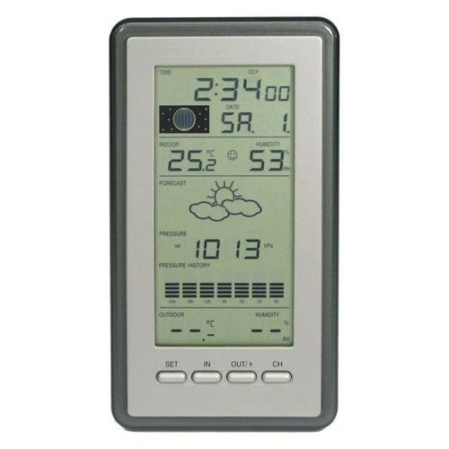 Technoline WS 9040-IT klassische Wetterstation mit Temperaturanzeige, Vorhersage von Wettersituation, Anzeige von Wettertendenz, inklusive Außensender TX29 DTH-IT, silber, 21,6 x 11,4 x 7,8 cm