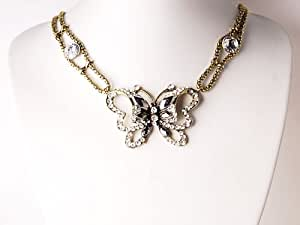 Papillon cristal collier de perles en verre de bohème inspiré avec strass transparent