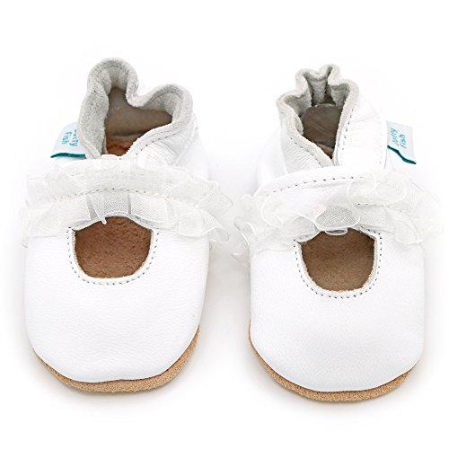 Dotty Fish Leder Babyschuhe - rutschfest Wildledersohle – chromfrei weiche Lederschuhe - Baby Mädchen - weiß Mary Jane Taufe oder Party Weiß