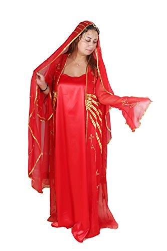 Dreiteiliges Abaya Set- Farbe: rot-gold (44-46 (L)) (Satin Kaftan)