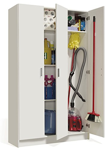 PEGANE Armoire Rangement Nettoyage 3 Portes en mélamine Coloris Blanc - Dim : H180 x L108,8 x P37 cm
