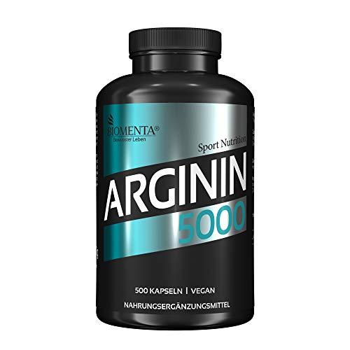 BIOMENTA L-ARGININ 5000 | 500 L Arginin Kapseln HOCHDOSIERT | L-Arginin VEGAN | Für Frauen & Männer | SUPER Preis-Leistungsverhältnis