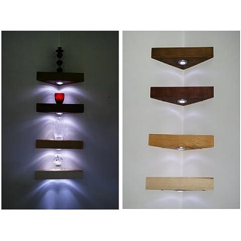 Esquina estantería flotante estantes madera de caoba color madera de pino maciza hecho a mano de madera con luces LED de color