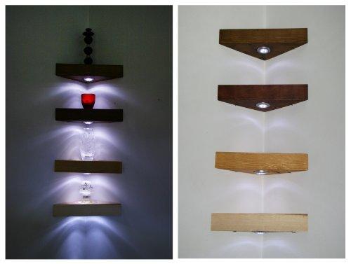Étagère d'angle Étagère en pin fait à la main en acajou massif de couleur en bois avec LED Blanc