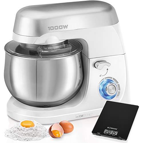 Clatronic KM 3709 Küchenmaschine mit 5 l Fassungsvermögen, elektronische Geschwindigkeit, 1000 W, Weiß + Küchenwaage