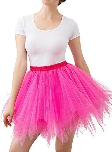 Mangotree Damen Retro Petticoat Kurz Rock Ballett Blase 50er Tüllrock Unterröcke 3 Layers Pettiskirt Unterkleid Tanzkleid (Rose rot)