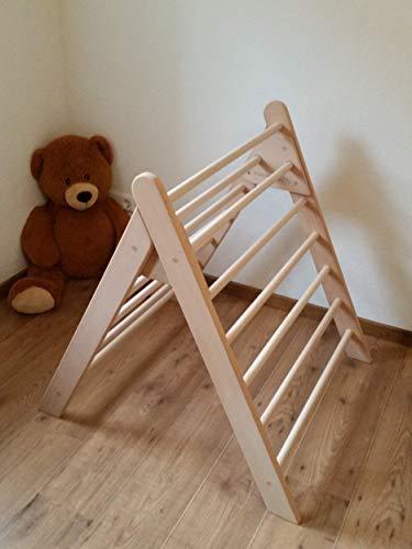 Sprossendreieck incl. Kindersicherung, Dreiecksständer, klappbar, Massivholz, fertig zusammengebaut