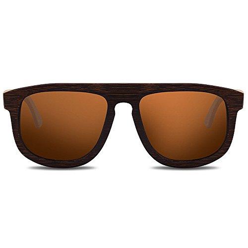 Ppy778 Holz Brille UV Blocking Sonnenbrillen für Männer und Frauen (Color : Gray)