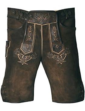 MADDOX Lederhose Urban - Kurze Herren Lederhose mit Trägern in Nuss Braun Antik aus Ziegenleder - Größen 46-58